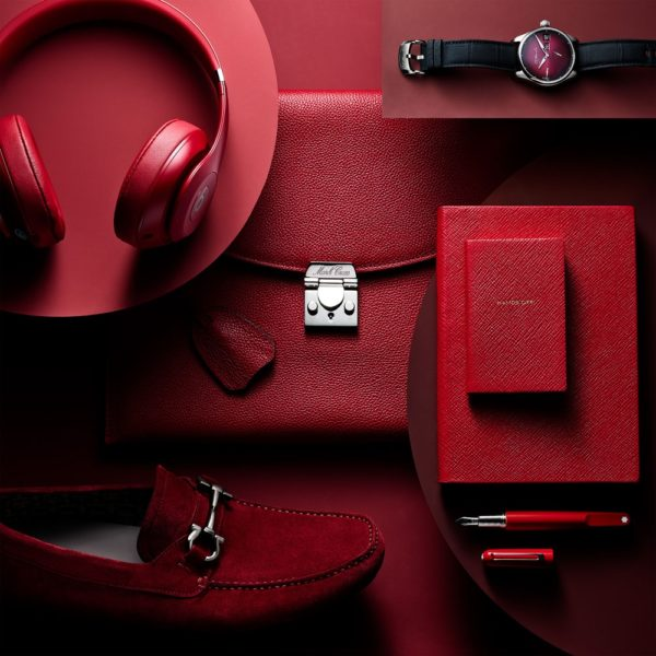 Red headphones and accessories