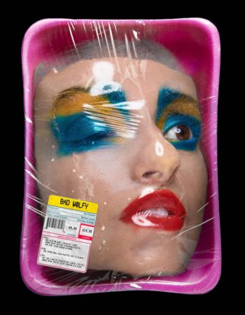 head wrapped in packaging